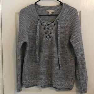 Grey lace-up sweater